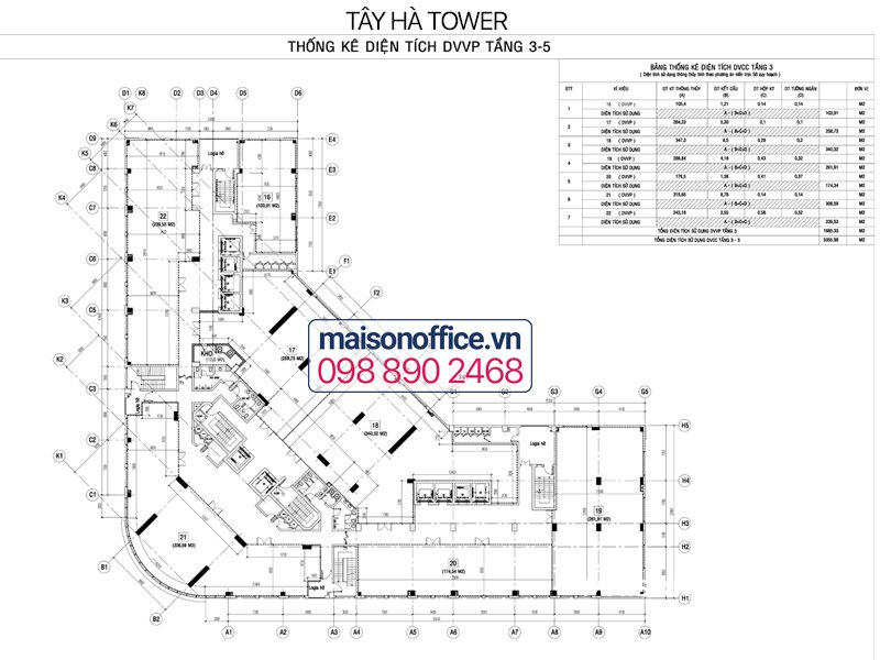 Tay Ha Tower floor layout