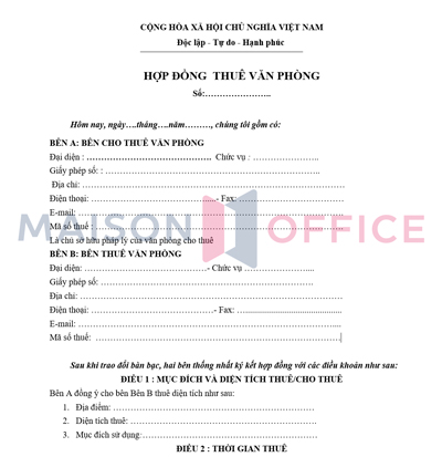 mẫu hợp đồng thuê văn phòng
